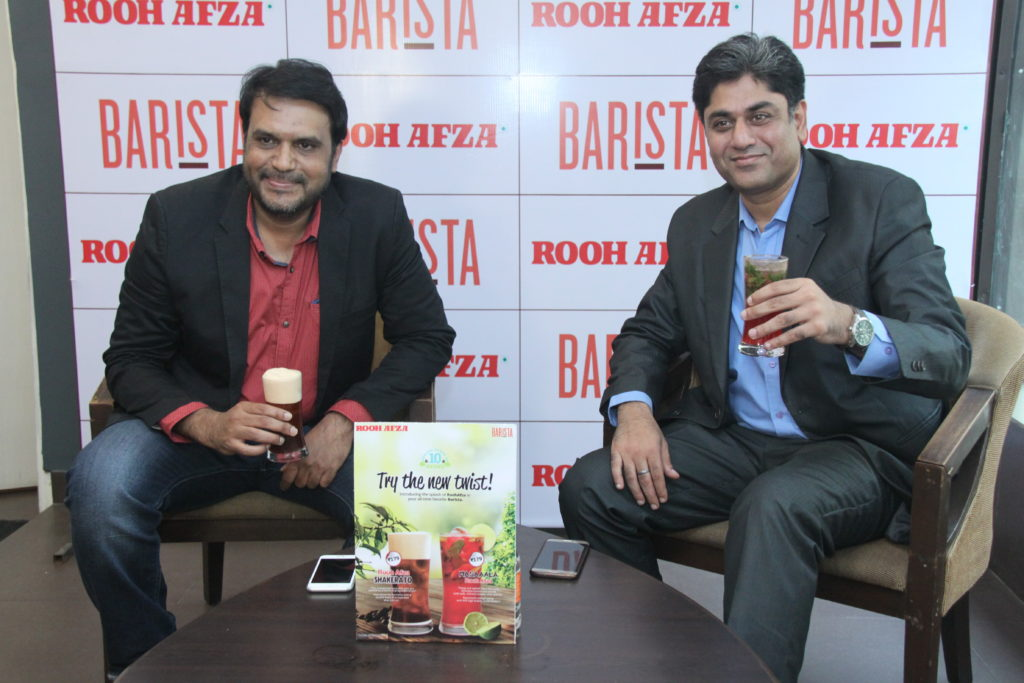 Mansoor Ali, CSMO, Hamdard India and Puneet Gulati, CEO, Barista Coffee at the launch of RoohAfza Shakerato and Masaaala RoohAfza